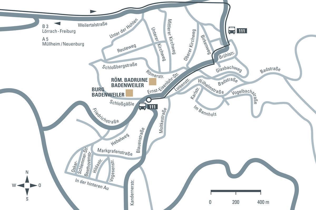 Anfahrtsskizze zur Burg Badenweiler; Entwurf: Staatliche Schlösser und Gärten Baden-Württemberg, JUNG:Kommunikation