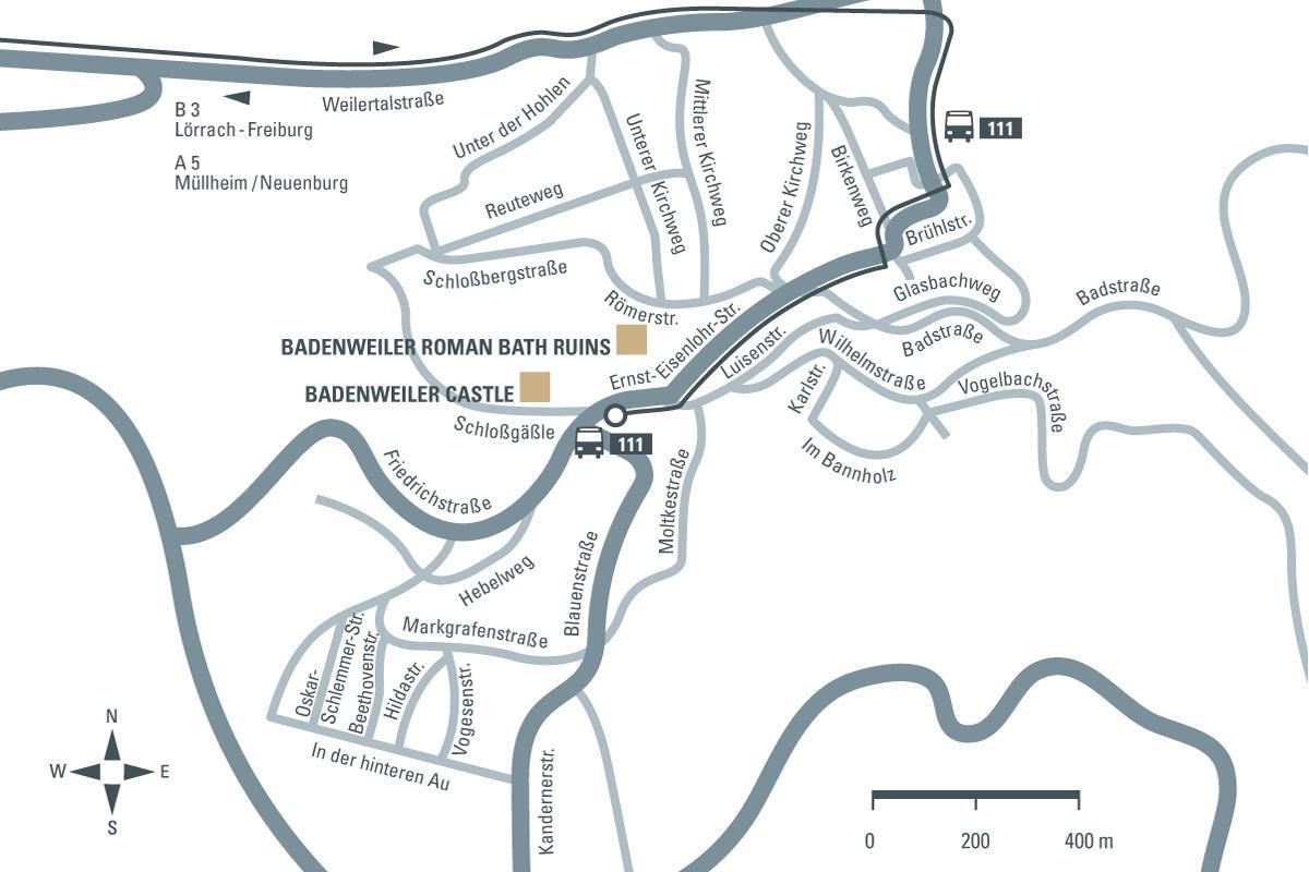 journey description: Badenweiler Roman Bath Ruins, illustration: Staatliche Schlösser und Gärten Baden-Württemberg, JUNG:Kommunikation