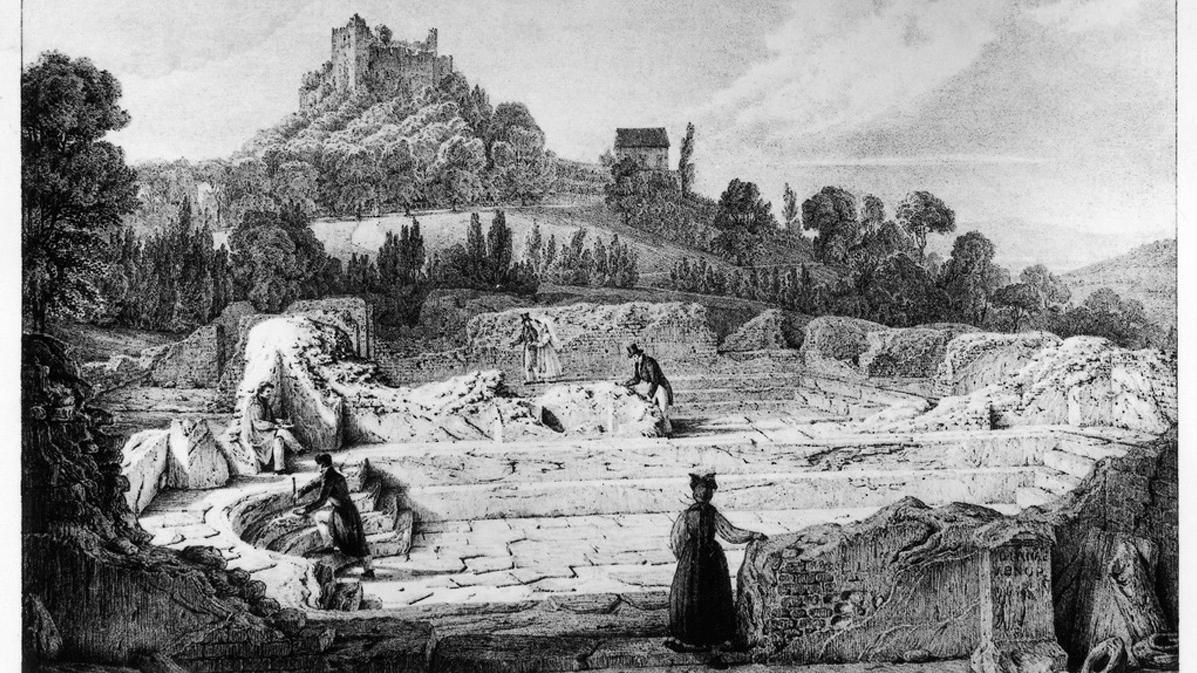 Lithografie der römischen Badruine Badenweiler von Engelmann nach Chapuis; Scan: Landesmedienzentrum Baden-Württemberg