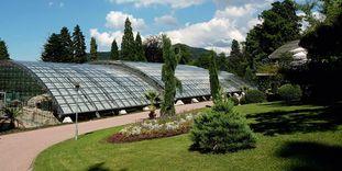 Römische Badruine Badenweiler mit Glasdach und einem Teil des Kurparks