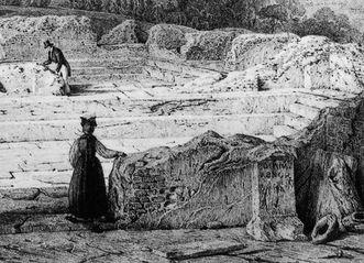 Römerbadruine mit Staffage von Studierenden mit dem Weihestein vorne rechts, Lithografie von Engelmann nach Chapuis