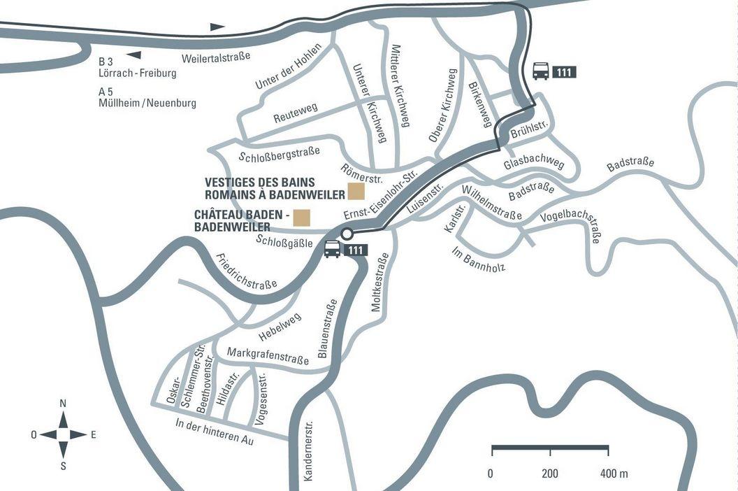 Vestiges des bains romains de Badenweiler; Visuel des Staatliche Schlösser und Gärten Baden-Württemberg, Illustration JUNG:Kommunikation