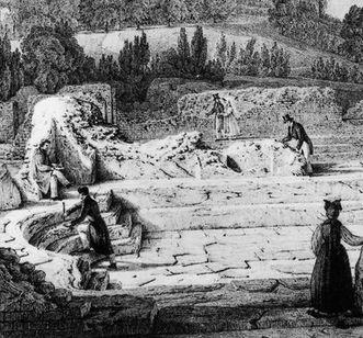Ausschnitt aus einer Lithografie der römischen Badruine Badenweiler, von Engelmann nach Chapuis