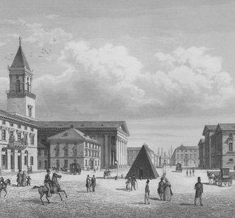 Marktplatz in Karlsruhe mit Stadtkirche, Rathaus und Pyramide; Foto: Staatliche Schlösser und Gärten Baden-Württemberg, Sandra Eberle